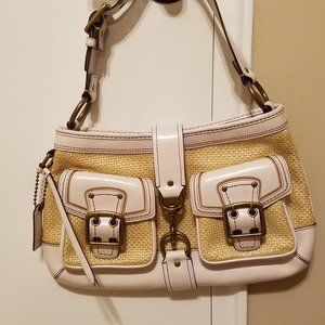 COACH LEGACY WHITE LEATHER and NATURAL BEIGE STRAW